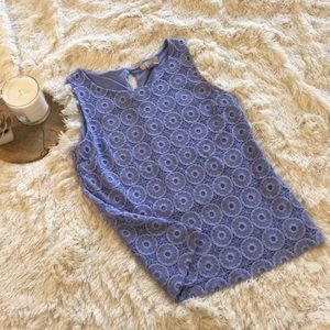 Banana republic baby blue embroidered tank top